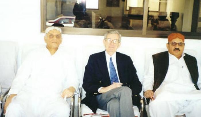 Mushtaq Talpur and Mir Mumtaz Talpur with an educationist Michael Gledhill,