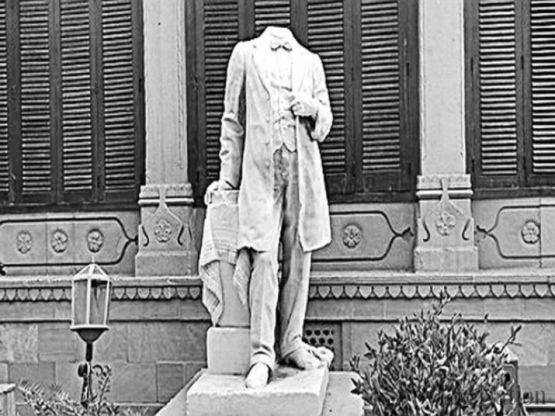 'beheaded' statue of the founder of modern Karachi,